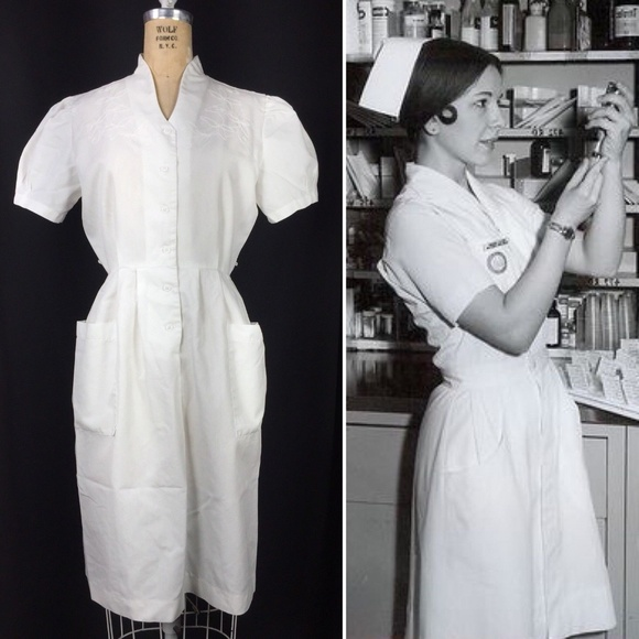 6109b5fac1b60 Vintage Dresses | Nurses Uniform Dress W Floral Embroidery | Poshmark